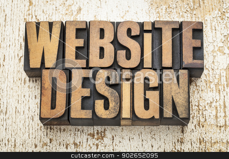 website design in wood type stock photo, website design  text in vintage letterpress wood type on a grunge painted barn wood background by Marek Uliasz