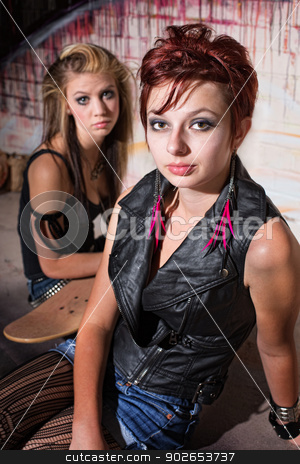 Teens with Skateboard stock photo, Two beautiful teenage girls with skateboard in alley by Scott Griessel