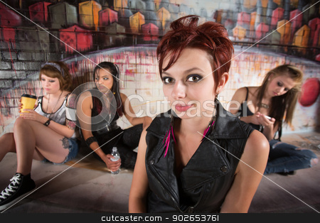Group Young Women in Alley stock photo, Beautiful group of female teenage girls in alley by Scott Griessel