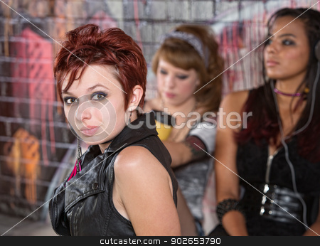 Confident Urban Girl stock photo, Confident 20 year old with women behind her by Scott Griessel