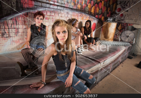 Young European Teenagers stock photo, Serious group of female teenagers sitting by wall by Scott Griessel