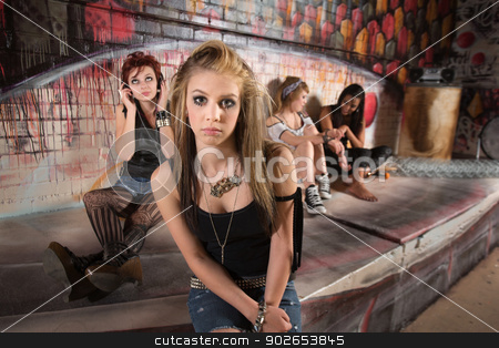 Lonely Young Woman stock photo, Lonely young female with distracted group near wall by Scott Griessel