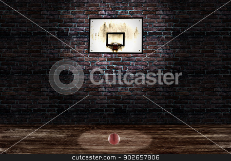 Basket stock photo, An old basket and a basketball in a playground by Fabio Alcini