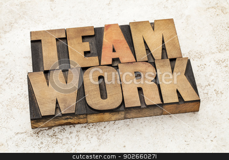 teamwork word in wood type stock photo, teamwork word in vintage letterpress wood type on a ceramic tile background by Marek Uliasz