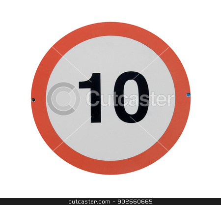 Speed limit traffic sign stock photo, Red traffic sign with speed limit of 10 isolated on white background. by Martin Crowdy