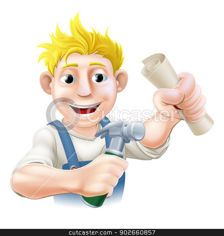 Carpenter Training stock vector clipart, Education concept of a happy carpenter or other construction man holding a hammer and scroll diploma, pass certificate, or other qualification.  by Christos Georghiou
