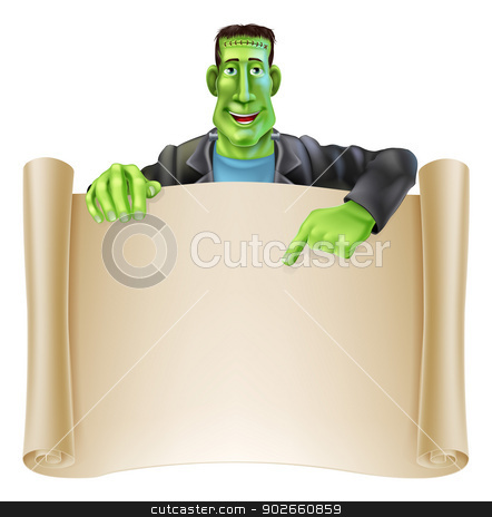 Frankenstein Halloween Sign Scroll stock vector clipart, An illustration of a cute cartoon Frankenstein monster character pointing at a scroll sign. Perfect for your Halloween sign or message by Christos Georghiou