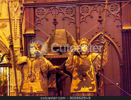 Christopher Columbus Crypt Statues Cathedral of Saint Mary of th stock photo, Christopher Columbus Crypt Statues Seville Cathedral, Cathedral of Saint Mary of the See, Seville, Andalusia Spain.  Built in the 1500s.  Largest Gothic Cathedral in the World.  DNA Testing proves burial Place of Christopher Columbus. by William Perry
