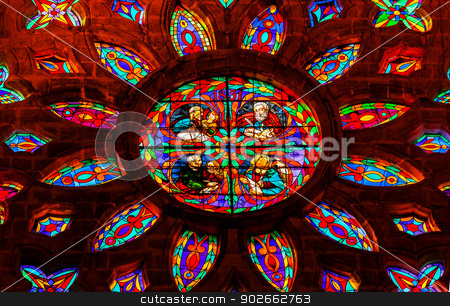 Gospel Writers Stained Glass Rose Window Cathedral of Saint Mary stock photo, Gospel Writers Mark Matthew Luke John Stained Glass Rose Window, Seville Cathedral, Cathedral of Saint Mary of the See, Seville, Andalusia Spain.  Built in the 1500s.  Largest Gothic Cathedral in the World and Third Largest Church in the World.  Burial Place of Christopher Columbus. by William Perry