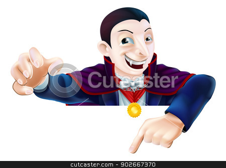 Halloween Cartoon Dracula Pointing stock vector clipart, An illustration of a cute cartoon Count Dracula vampire character for Halloween pointing down at a sign or banner by Christos Georghiou