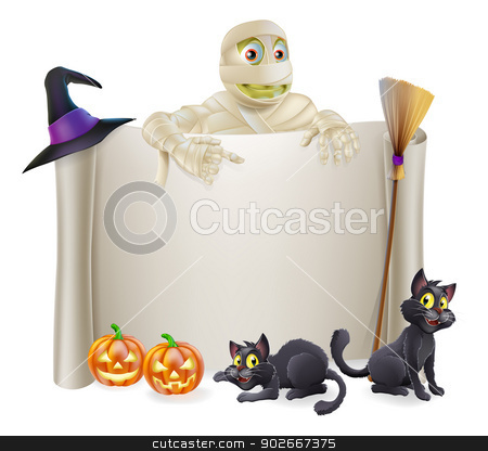 Halloween Mummy Scroll Sign stock vector clipart, A Halloween scroll sign with a mummy character above the banner and pumpkins, witch's cats, hat and broomstick by Christos Georghiou