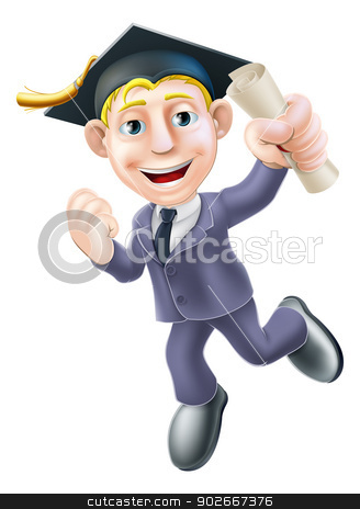 Professional qualification man stock vector clipart, A happy smiling businessman in graduate mortar board cap holding a scroll diploma or certificate and happily jumping with fist clenched. Career development or qualification education concept by Christos Georghiou