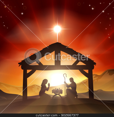 Nativity Christian Christmas Scene stock vector clipart, Christmas Christian nativity scene with baby Jesus in the manger in silhouette, and star of Bethlehem by Christos Georghiou