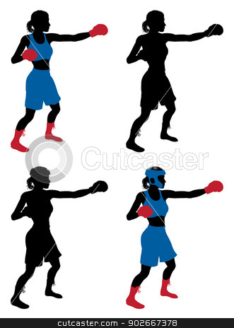 Female boxer boxing stock vector clipart, An illustration of a female boxer or boxercise woman boxing or working out. Color and simple silhouette outline versions included, as well as versions with protective headwear and without. by Christos Georghiou