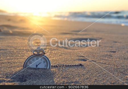 time clock beach sunset stock photo, creative photography by abdullah üsame deniz