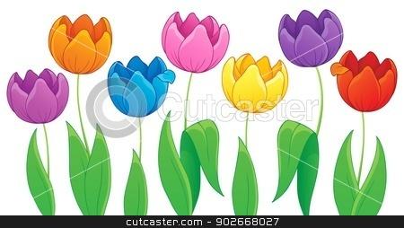 Image with tulip flower theme 3 stock vector clipart, Image with tulip flower theme 3 - eps10 vector illustration. by Klara Viskova