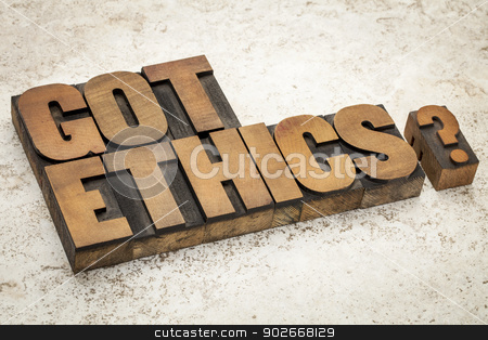Got ethics question stock photo, Got ethics question - text in vintage letterpress wood type on a ceramic tile background by Marek Uliasz