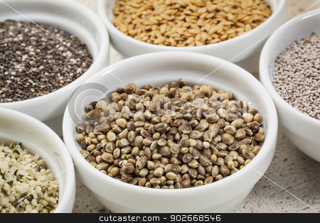 hemp seeds  stock photo, hemp seeds in a white ceramic bowl among other healthy seeds by Marek Uliasz