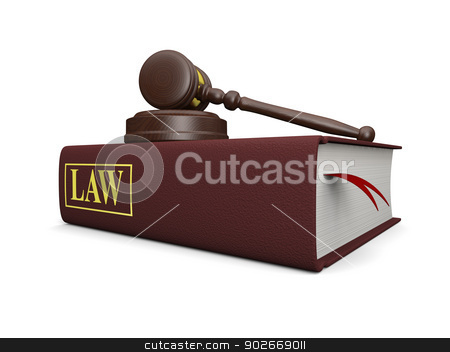 Law book stock photo, Gavel and law book isolated on white background, symbols of law and justice by Harvepino
