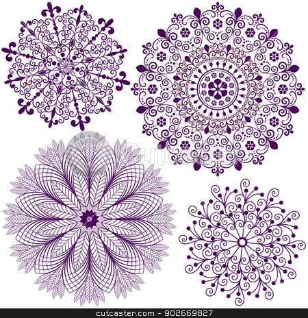 Set christmas filigree snowflakes stock vector clipart, Collection new christmas dark violet snowflakes  isolated on white (vector) by Olga Drozdova