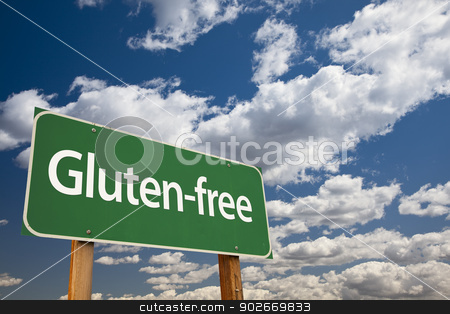 Gluten-free Green Road Sign and Clouds stock photo, Gluten-free Green Road Sign Over Dramatic Blue Sky and Clouds. by Andy Dean