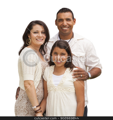 Hispanic Family Isolated on White stock photo, Hispanic Mother, Father and Daughter Isolated on a White Background. by Andy Dean