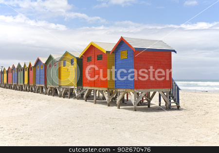 Beach huts stock photo, Row of painted beach huts in Cape Town, South Africa by Vividrange