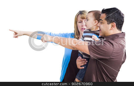 Mixed Race Couple Pointing With Son on White stock photo, Attractive Mixed Race Couple Pointing With Son Isolated on a White Background. by Andy Dean
