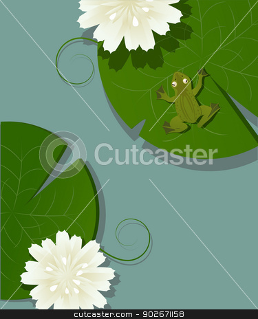 Frog and lotus stock vector clipart, Illustration of a little frog over a lotus leave in the pod by Richard Laschon