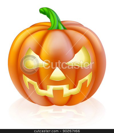 Carved Halloween Pumpkin stock vector clipart, A drawing of a cartoon Halloween pumpkin with classic scary face carved into it by Christos Georghiou