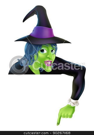 Halloween Witch Pointing Down stock vector clipart, Drawing of a friendly cartoon Halloween witch peeping over a sign and pointing  by Christos Georghiou