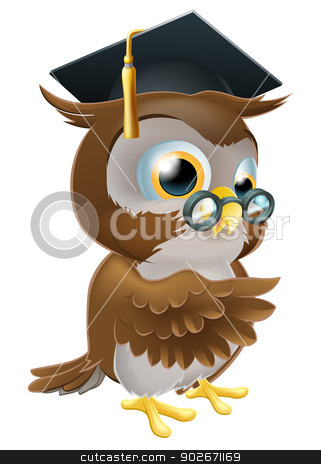 Professor owl stock vector clipart, An illustration of a smart owl wearing a mortar board graduation cap and spectacles and pointing by Christos Georghiou