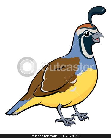 Cartoon California Quail stock vector clipart, Cartoon illustration of a male California Quail or California Valley Quail or Valley Quail (Callipepla californica) by Christos Georghiou