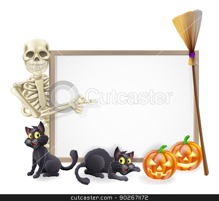 Skeleton Halloween Sign stock vector clipart, Halloween sign or banner with orange Halloween pumpkins and black witch's cats, witch's broom stick and cartoon skeleton character  by Christos Georghiou