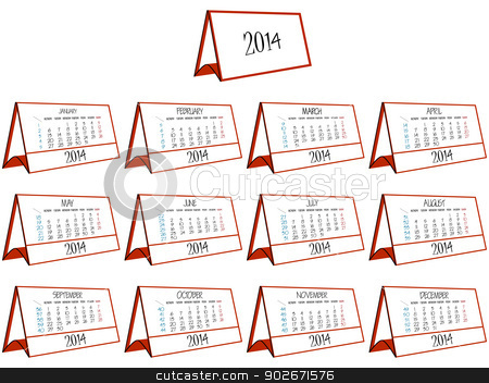 3d calendar 2014 stock vector clipart, 3d calendar 2014 over white background, abstract vector art illustration by Laschon Robert Paul