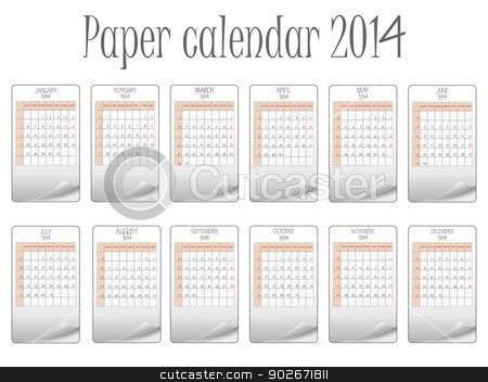 paper calendar 2014 stock vector clipart, paper calendar 2014 against white background, abstract vector art illustration by Laschon Robert Paul
