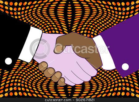 pop art vintage hand shake stock vector clipart, pop art vintage hand shake, abstract vector art illustration by Laschon Robert Paul