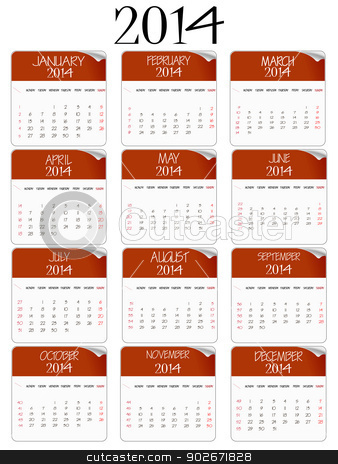 red and white paper calendar 2014 stock vector clipart, red and white paper calendar 2014 against white background, abstract vector art illustration by Laschon Robert Paul