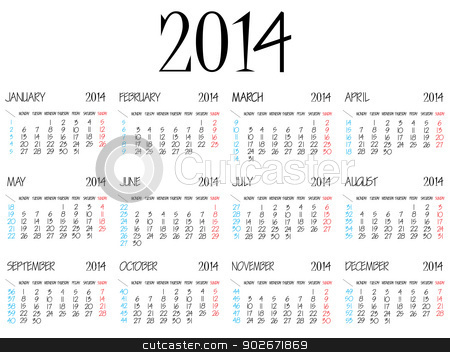 simple calendar 2014 stock vector clipart, simple calendar 2014 over white background, abstract vector art illustration by Laschon Robert Paul