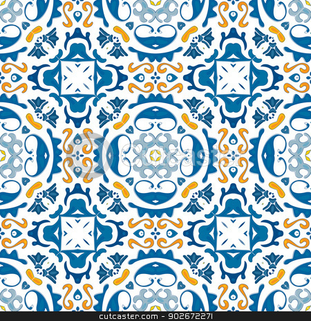 Portuguese tiles stock vector clipart, Seamless pattern illustration in blue and orange - like Portuguese tiles by nahhan