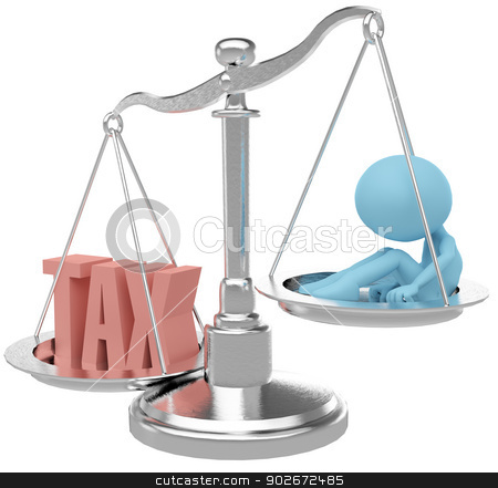Tax payer person hurt by heavy Taxes stock photo, Person suffer weight of unfair heavy tax burden by Michael Brown