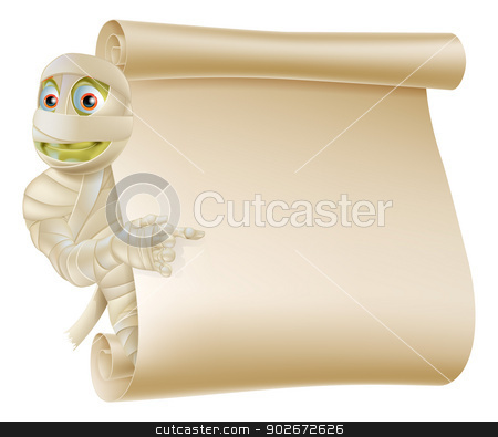Mummy Halloween Monster Scroll Sign stock vector clipart, An illustration of a Halloween mummy character peeping round a scroll sign or banner and pointing at it by Christos Georghiou