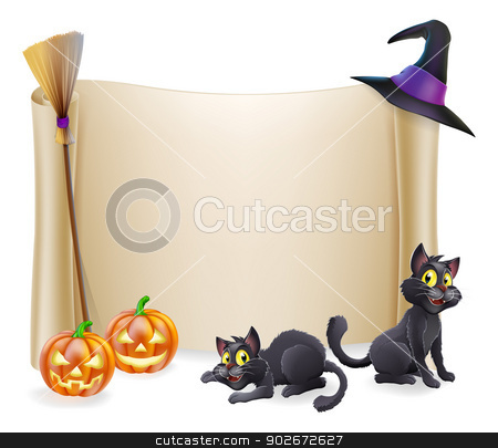 Halloween Background stock vector clipart, Halloween background scroll sign with witch hat, broomstick, carved orange pumpkins and witch's black cats  by Christos Georghiou