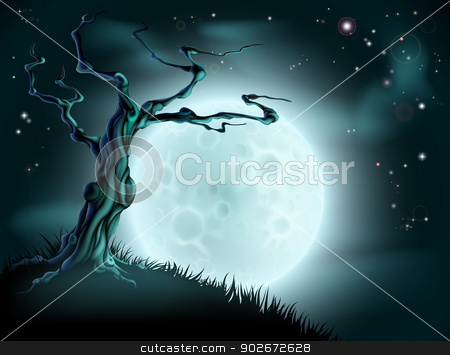 Blue Halloween Moon Tree Background stock vector clipart, A spooky scary blue Halloween background scene with full moon, clouds, hill and scary tree by Christos Georghiou
