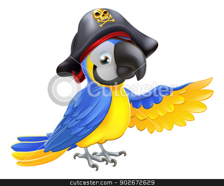 Pirate Parrot Illustration stock vector clipart, A drawing of a cartoon parrot pirate character with eye patch and hat with skull and crossbones pointing with its wing by Christos Georghiou