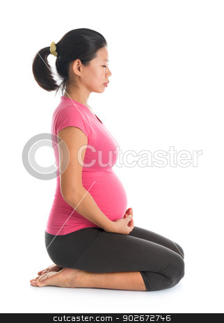 Pregnant woman meditation stock photo, Prenatal yoga. Full length healthy Asian pregnant woman meditating at home, fullbody isolated on white background. Yoga hero pose. by szefei