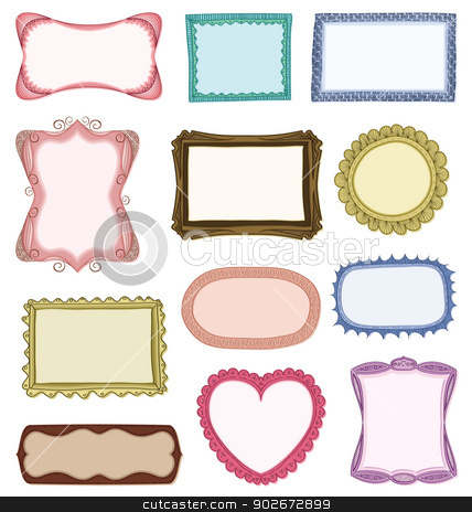 Hand drawn frames stock vector clipart, Hand drawn frames set with different ornaments by wingedcats