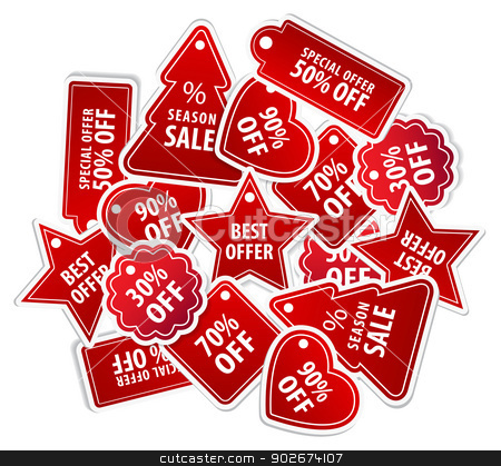 Shopping Tag Labels stock vector clipart, This image is a vector file representing a collection of shopping tag labels. by Bagiuiani Kostas
