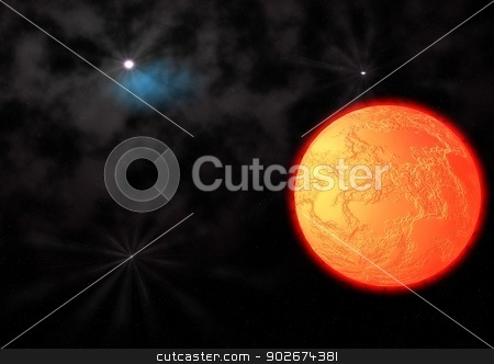 far-out planets in a space stock photo, far-out planets in a space against stars by Anatolii Vasilev