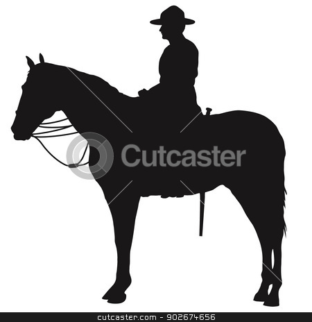 Canadian Mountie Silhouette stock vector clipart, The silhouette of a Canadian Mounted Police officer by Maria Bell